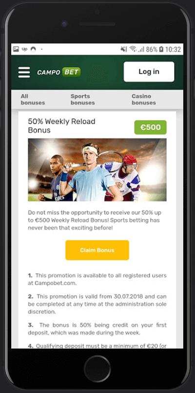Campobet 50% tjednog dodatnog bonusa