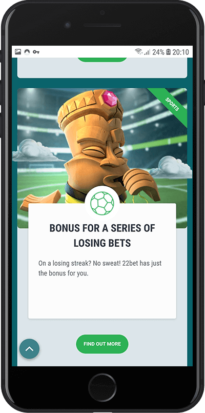 22bet dodatne bonus