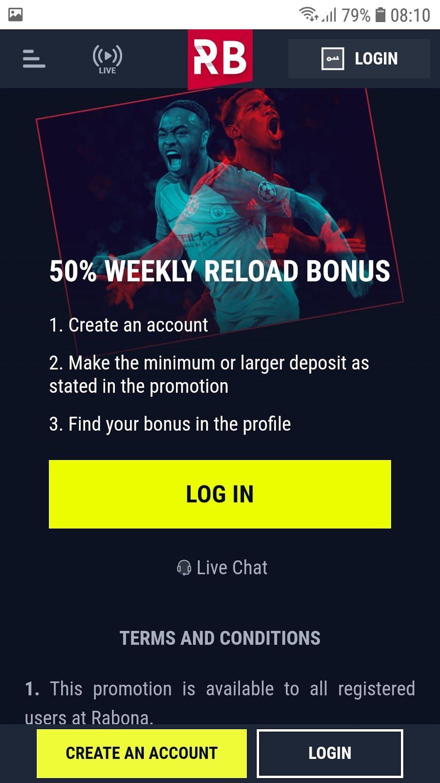 Rabona 50% tjedni bonus za ponovno punjenje